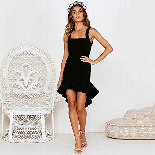 12c5954f753 ECOWISH Womens Bodycon Backless Cocktail Dress Sleeveless Ruffled Wrap High  Low Sundress