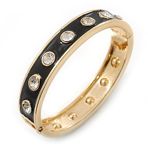 Avalaya Black Enamel Crystal Hinged Bangle Bracelet In Gold Plating - 19cm Length