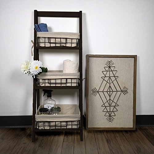 44'' Brown Foldable Wooden Shelf with 3 Foldable Metal Baskets and Liners, Etagere, Supplies Organizer, Office Storage Cabinet, Etagere Organizer, Bundle with Expert Guide ''Quality in Our Life'' by Tank Design & Co.