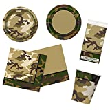 Unique Military Camo Party Bundle | Luncheon & Beverage Napkins, Dinner & Dessert Plates, Table Cover, Cups | Great for Army/Soldier Birthday Themed Parties