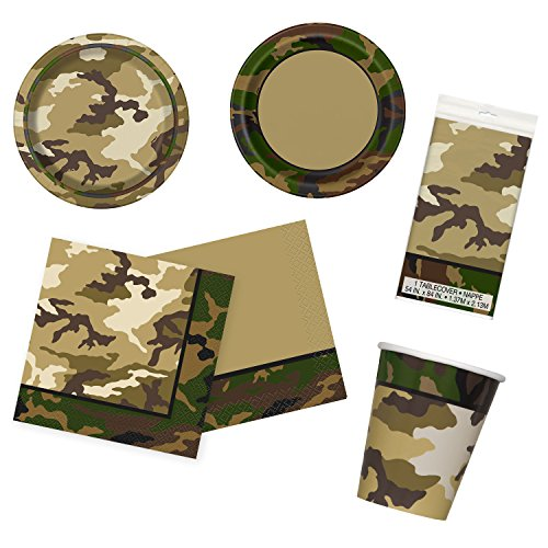 Unique Military Camo Party Bundle | Luncheon & Beverage Napkins, Dinner & Dessert Plates, Table Cover, Cups | Great for Army/Soldier Birthday Themed Parties by Unique