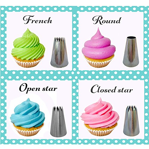 Love2bake cupcake decorating tip set classic stainless for Star decorating tip
