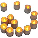Samyo Set of 12 Silver Glitter Led Battery Flameless Votive Tealight Candle Lighting for Wedding Christmas Centerpieces Party Celebration
