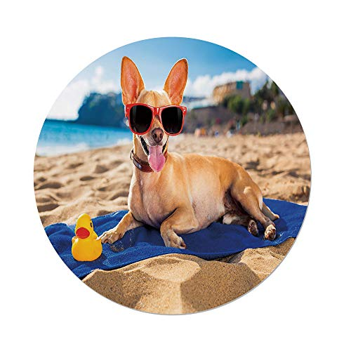 Gold Smiling Sun Charm - Polyester Round Tablecloth,Funny,Chihuahua Dog at the Ocean Shore Sunbathing Smiling Coastal Charm Print,Sand Brown Light Blue,Dining Room Kitchen Picnic Table Cloth Cover,for Outdoor Indoor
