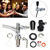 KingSo Stainless Steel Draft Beer Faucet With G5/8'' Shank Kit with Black Handle for Kegerators