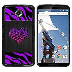 Impact Case Cover with Art Pattern Designs FOR NEXUS 6 / X / Moto X Pro Zebra Stripes Heart Brushed Metal Purple Betty shop
