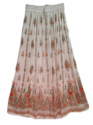 Winmaarc Womens Indian Sequin Crinkle Broomstick Gypsy Long Skirt (White/Multicolored) (Multi Skirt Broomstick)