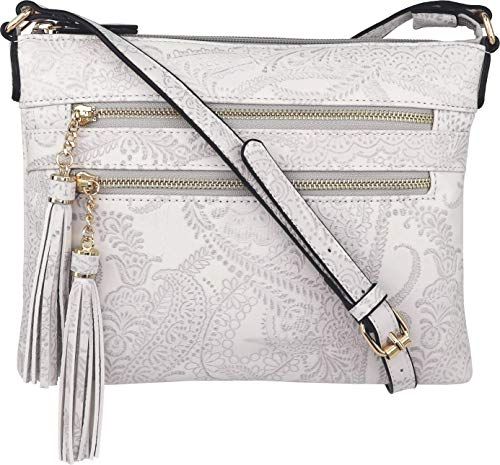 (B BRENTANO Vegan Multi-Zipper Crossbody Handbag Purse with Tassel Accents (Gray)