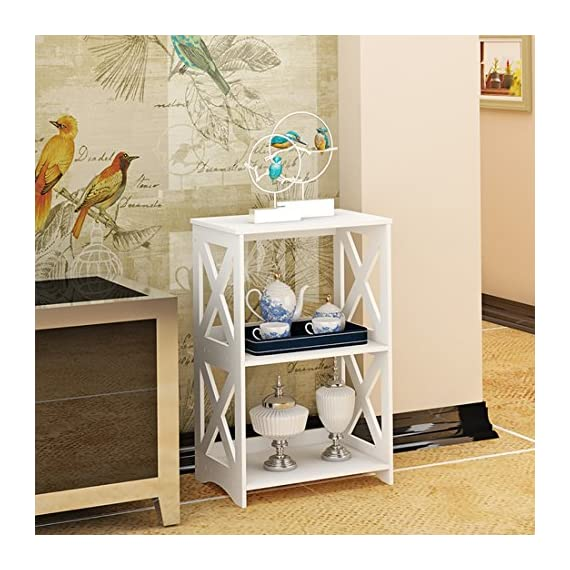 """Rerii End Table, 2 Tier Small Side Table, Simple Bedside Nightstand, Small Bookcase Bookshelf, Display Rack Shelf for Bathroom, Bedroom and Living Room, White - 【WOOD PLASTIC COMPOSITE】This little storage rack is made of of WPC(Wood Plastic Composite),which is a new eco-friendly material for furniture using,smooth surface can be easily cleaned with wet cloth; Suitable for any places,such as living room, bedroom, bathroom, office, kitchen, hallway etc 【ADORABLE & LIGHTWEIGHT】The bookshelf is SMALL (15""""L x 10.2""""W x 23.6""""H) and cute with color white as well as the X design on the sides,which goes well with any style of decoration; Such a little bookshelf is pretty lightweight and fairly easy to move around,great for someone who moves often 【VERSATILE & PRACTICAL】This little organizer shelf is multi-functional that you can use it many places in your house.As a decorative shelf for small plants, toys or knickknacks; As a little bookcase to store all your DVD movies and small books; As a bathroom shelf to store your makeup, hair or beauty items; As a kitchen storage rack for for organize some snacks and foods - shelves-cabinets, bathroom-fixtures-hardware, bathroom - 51OOfIeaA4L. SS570  -"""