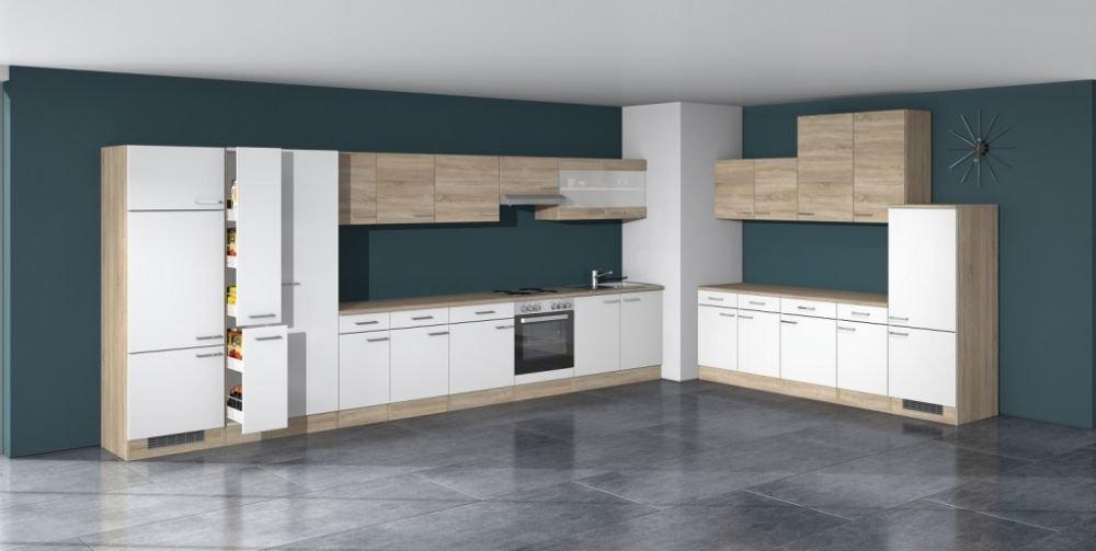 Küchen Unterschrank 80 cm breit Weiß Sonoma Eiche - Salerno: Amazon ...