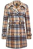 Wantdo Women's Double Breasted Slim Long Trench Coat Windbreaker Yellow Plaid S