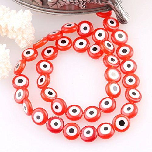 Kingzer 9MM LOVELY RED GLASS LAMPWORK COIN LOOSE BEADS