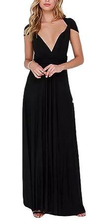dc2bb9bfca Lingswallow Women Elegant Sexy Low Cut Bandage Tunic Maxi Prom Dress Gown  Black