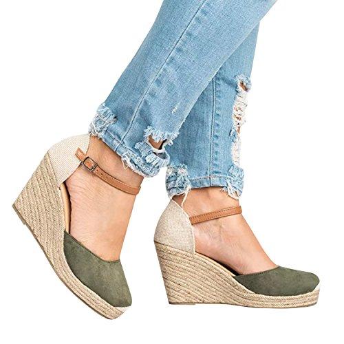 Ermonn Womens Peep Toe Platform Wedge Sandals Espadrille Ankle Strap Mid Heel Braided Sandals (6.5 B(M) US, (Green Wedge Platform)