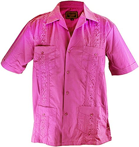 Cathedral Men's Short Sleeve Cuban Guayabera Shirt (X-Large, Pink)