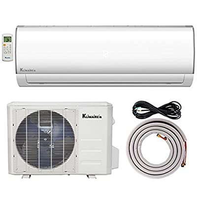 Klimaire KSIF009-H115-S 9,000 BTU 15.2 SEER Ductless Mini-Split Inverter Air Conditioner Heat Pump System with 15'. Installation Kit (115V), , 9,000 BTU - 115 V
