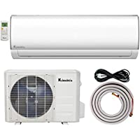 Klimaire KSIF009-H115-S 9,000 BTU 15.2 SEER Ductless Mini-Split Inverter Air Conditioner Heat Pump System with 15. Installation Kit (115V), , 9,000 BTU - 115 V