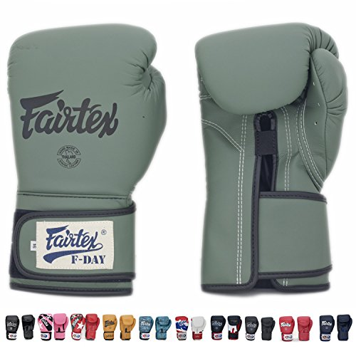Fairtex Muay Thai Boxing Gloves BGV11 F Day Military Green & BGV14 Size 10 12 14 16 oz Training & Sparring Gloves for Muay Thai Kick Boxing MMA K1 (Military green, 12 oz)