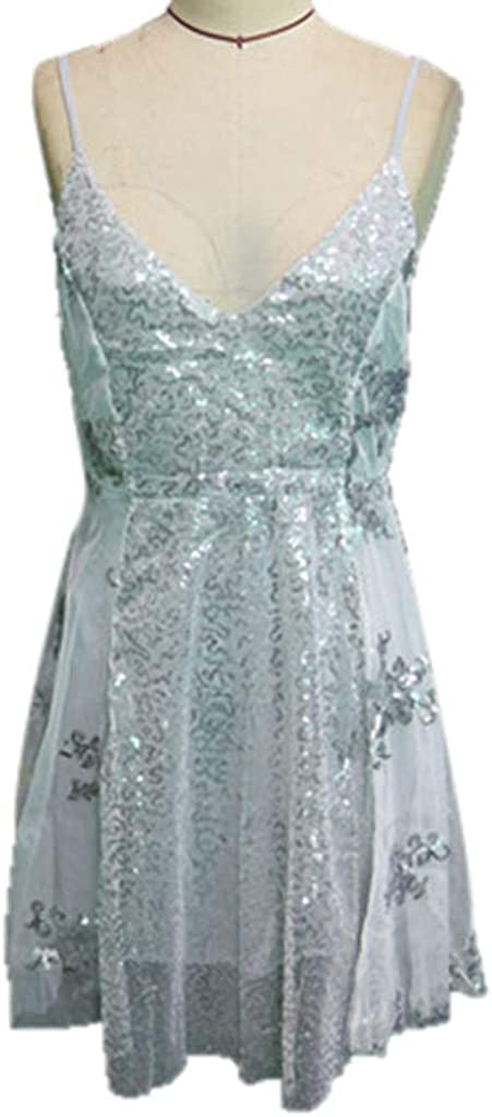 Women Short Dress,Fineser Women Spaghetti Strap V-Neck Lace Patchwork Sequins Backless Fit and Flare Party Mini Dress