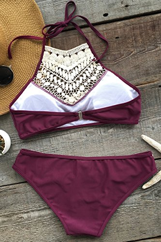 Cupshe-Fashion-Womens-Lace-Splicing-Halter-Padding-Tank-Bikini-Set