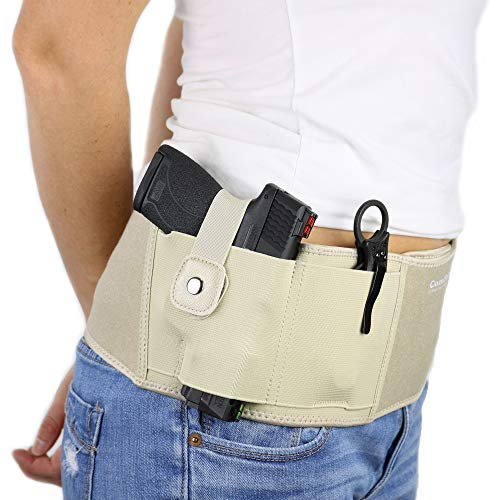 Ultimate Belly Band Holster for Concealed Carry | Nude | Fits Gun Smith and Wesson Bodyguard, Shield, Glock 19, 17, 42, 43, P238, Ruger LCP, and Similar Sized Guns | For Men and Women (Right) (Womens Holster Corset)