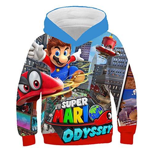 Super Mario trui, 3D capuchonsweater voor kinderen met cartoon anime, Super Mario bedrukt pullover jack, truien voor…