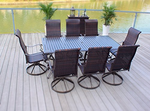 9pc Cast Aluminum and Wicker Swivel Rocker Patio Dining Furniture Set (8 Seat Patio Table)