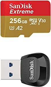 SanDisk Extreme 256GB microSD UHS-I Card with Adapter - 160MB/s with SanDisk MobileMate USB 3.0 microSD Card Reader