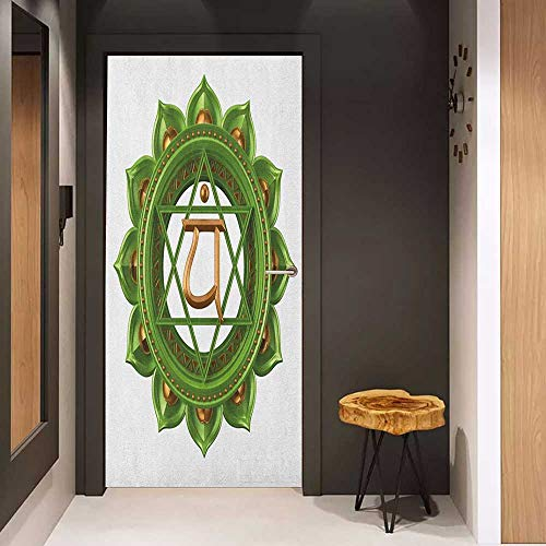 Sticker for Door Decoration Chakra Circular Oriental Style Earth Core Form Ancient Balance and Harmony in Cosmos Theme Door Mural Free Sticker W38.5 x H77 Green Gold
