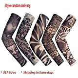 Aelove Unisex Tattoos Print Outdoor Riding Cooling Sun Protection Arm Sleeves Cover Gloves