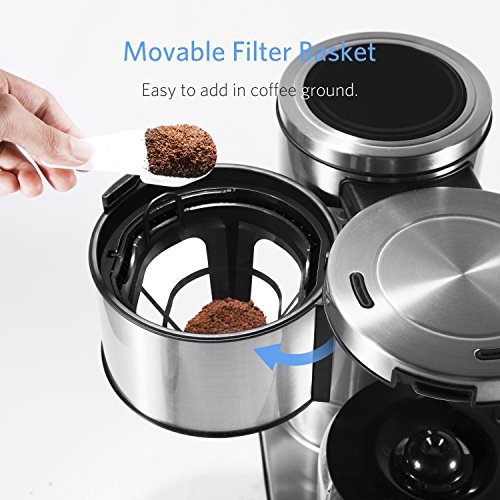 BESTEK 10 Cup Drip Coffee Maker in Stainless Steel, Programmable and Aroma Control, with Permanent Filter by BESTEK (Image #5)
