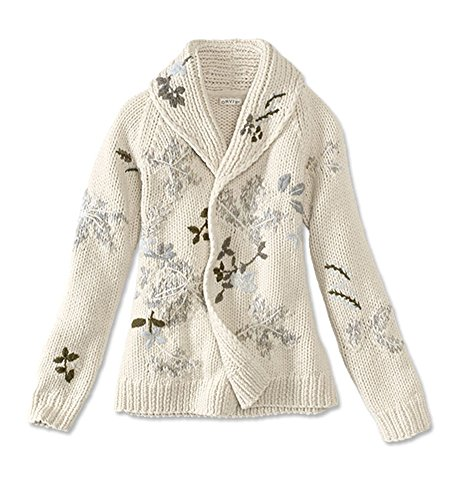 Orvis Shawl-Collar Embroidered Sweater, Natural, Large by Orvis