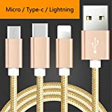 Gold USB 2.0 Type-C Micro Lighting Connector 3 in 1 Cable Nylon Braided Durable Fast Charger High Speed Charging Premium Copper Core 2M (78.74 Inch) Cables For Xiaomi Redmi Note 3
