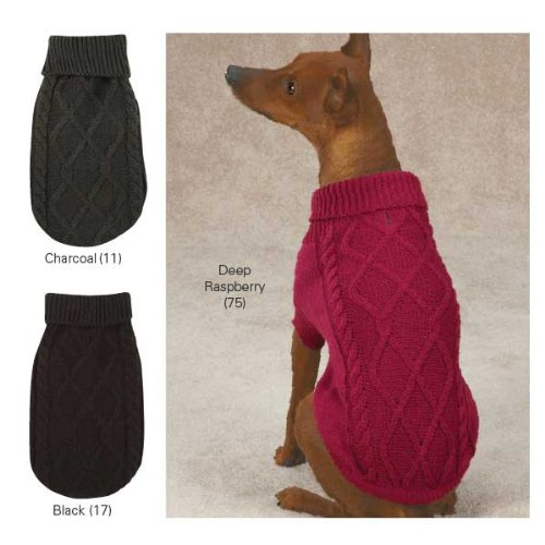 Cozy Cable Knit Dog Sweater color  Charcoal, Size  Small (12 H x 9.5 W x 0.25 D) by East Side Collection