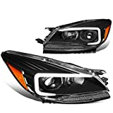 Pair Black Housing Amber Side 3D LED DRL Projector Headlight Lamps Compatible with Ford Escape 13-16