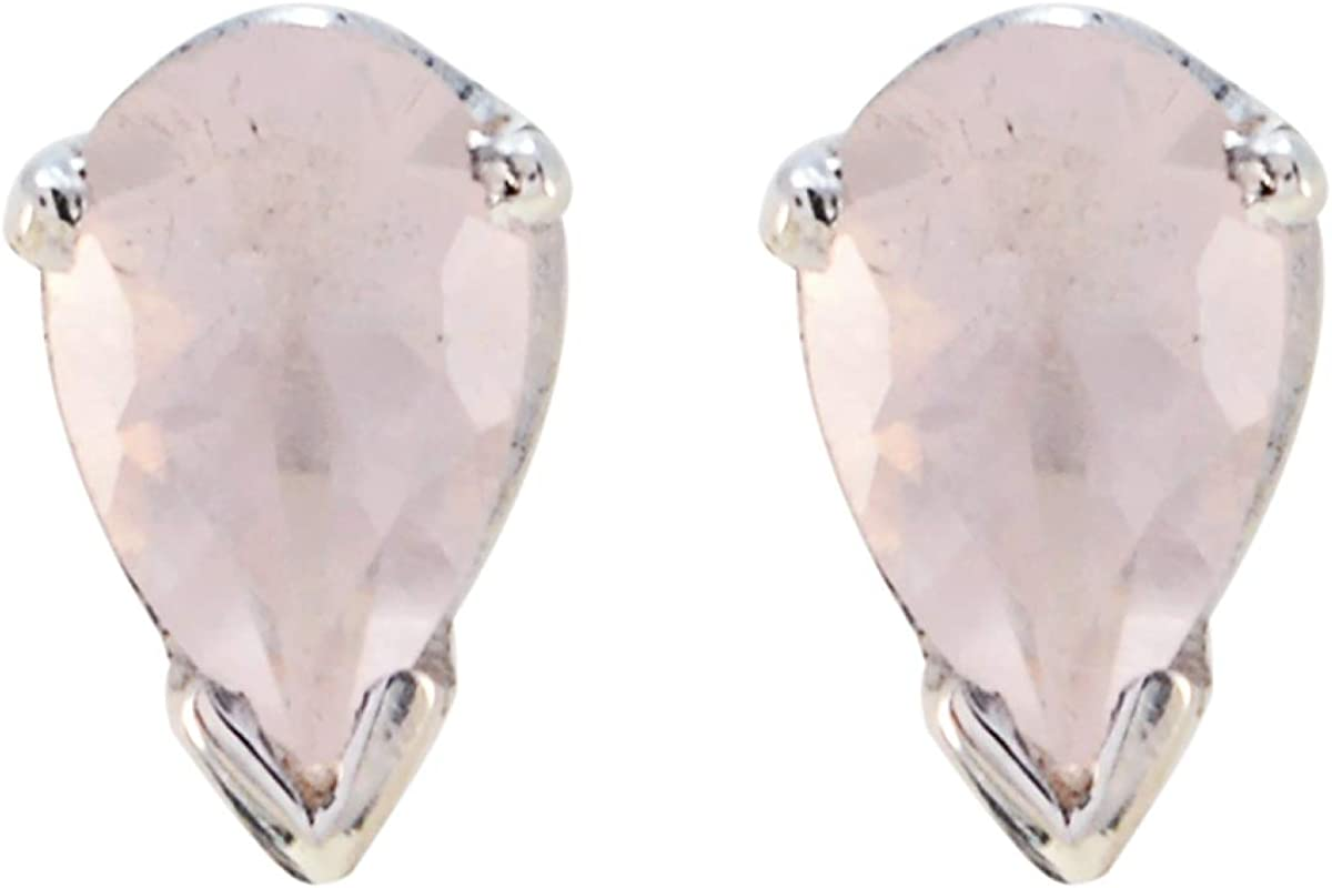 joyas plata real cuarzo rosa gemas una forma de pera tachuelas facetadas pendientes de plata maciza