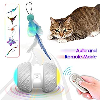 k-berho Remote Control/Robotic Cat Toys Interactive, Cat Toys for Indoor with Feather,Color Ribbon,Butterfly,Automatic Cat Toy with Irregular USB Charging 360 Degree Self Rotating Ball