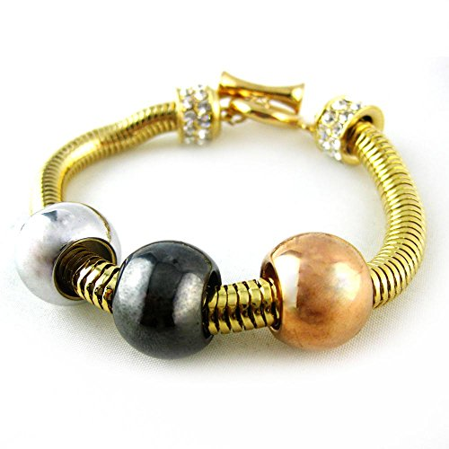 Gold Ball Stretch Bracelet (Modern Gold or Silver Plated Crystal Statement Jewelry Fashion Bracelet RSB1372-G RSB1372-S)