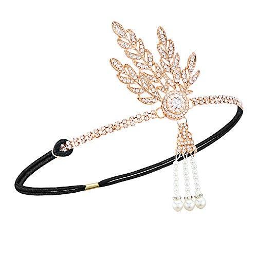 Radtengle 1920s Flapper Headband Great Gatsby Themed Rhinestone Crystal Pearl Wedding Hair Accessories Headpiece Rose Gold]()