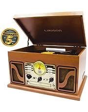 Lauson Platine Vinyle Bluetooth en Bois avec Fonction d'encodage, CD, Radio, USB, mp3, 3 Vitesses, 33/45/78 TR / Min avec Haut-parleurs intégrés, CL606