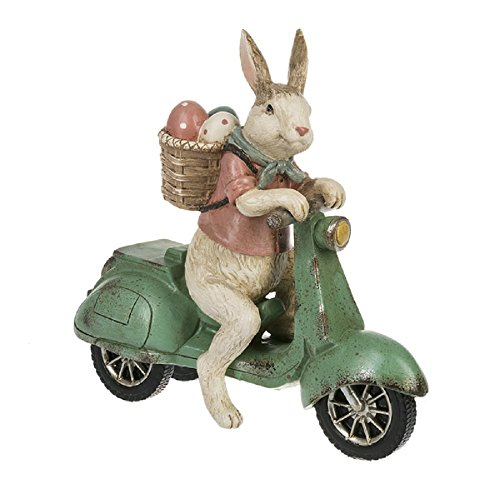 Ganz 7.63 inches width x 2.63 inches depth x 7.25 inches height Easter Bunny Scooter Collectible Figurine