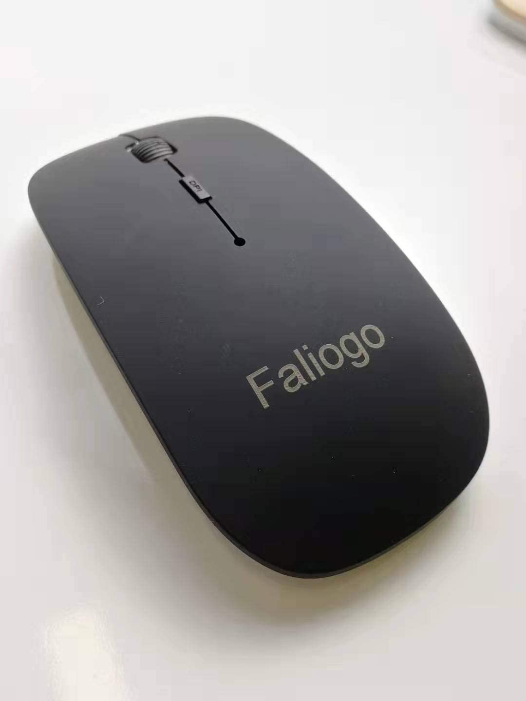 Slim Portable Computer Mouse Notebook Faliogo Wireless Gaming Mouse Laptop and Pad etc Black PC Mobile Optical Mice with Nano Receiver for Computer
