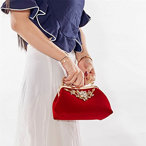 Handbag Red Clutch Lady Handbag Evening Style Wallet Purse Elegant Peacock Numkuda Prom Bridal 7f6T8EEwq