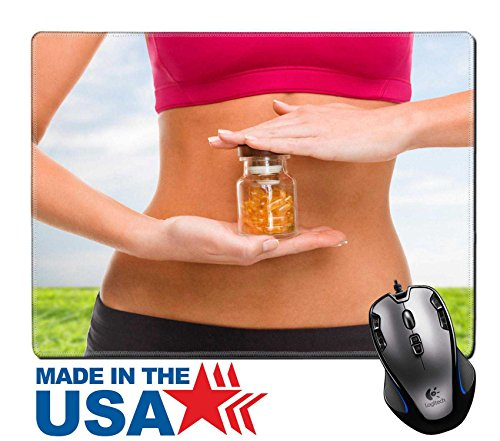 """MSD Natural Rubber Mouse Pad/Mat with Stitched Edges 9.8"""" x 7.9"""" IMAGE ID 28508142 sport fitness healthcare and diet concept close up of female hands with bottle of capsules"""