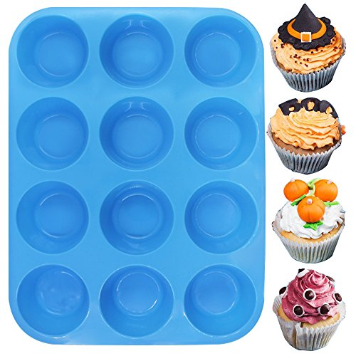 12-Cup Silicone Muffin & Cupcake Baking Pan, YuCool 3 Pack Silicone Molds for Muffin Tins, Cakes, Non-stick Mould (Orange, Red, Blue) by YuCool (Image #7)