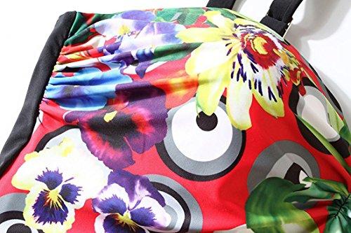 HZZ Para mujer vestido de una pieza del traje de baño de la nadada Shaping Cuerpo de trajes de baño floral con Corto Red