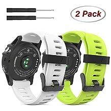 Garmin Fenix 3 Accessories, MoKo Soft Silicone Replacement Watch Band for Garmin Fenix 3 / Fenix 3 HR / Fenix 5X Smart Watch - WHITE & GREEN