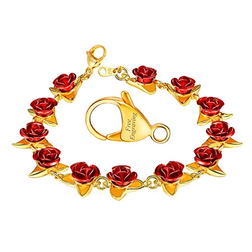 U7 Cute Red Rose Flower Charm Bracelet/Earrings/Pendant Necklace/Open Ring for Women Girls 18K Gold Plated Nature Jewelry, Wedding/Party/Bridesmaid Gift (Bracelet Gold (Customized))