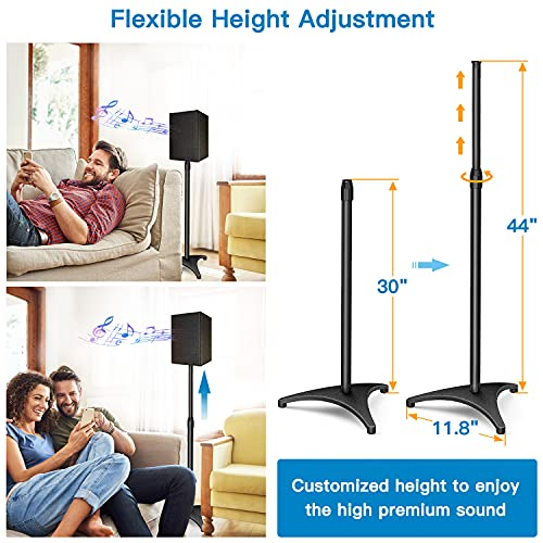 PERLESMITH Speaker Stands Extend 30-44 Inch with Cable Management, Hold Satellite, Small Bookshelf & Bluetooth Speakers up to 8lbs(i.e. Polk, JBL, Sony & Samsung) -1 Pair