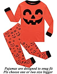 Boys Halloween Pajamas Skeleton-Glow-in-The-Dark Toddler Pjs Kids Clothes Shirts